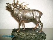 hirsch0001.JPG - Wildfigur Bronze Keiler Jagd und Jaeger